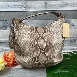 Michael Kors XL shoulder animal print satchel